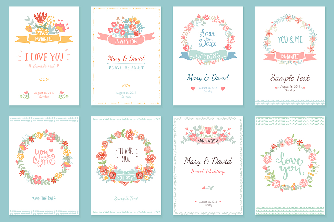 24 Romantic & Wedding Cards Template example image 4
