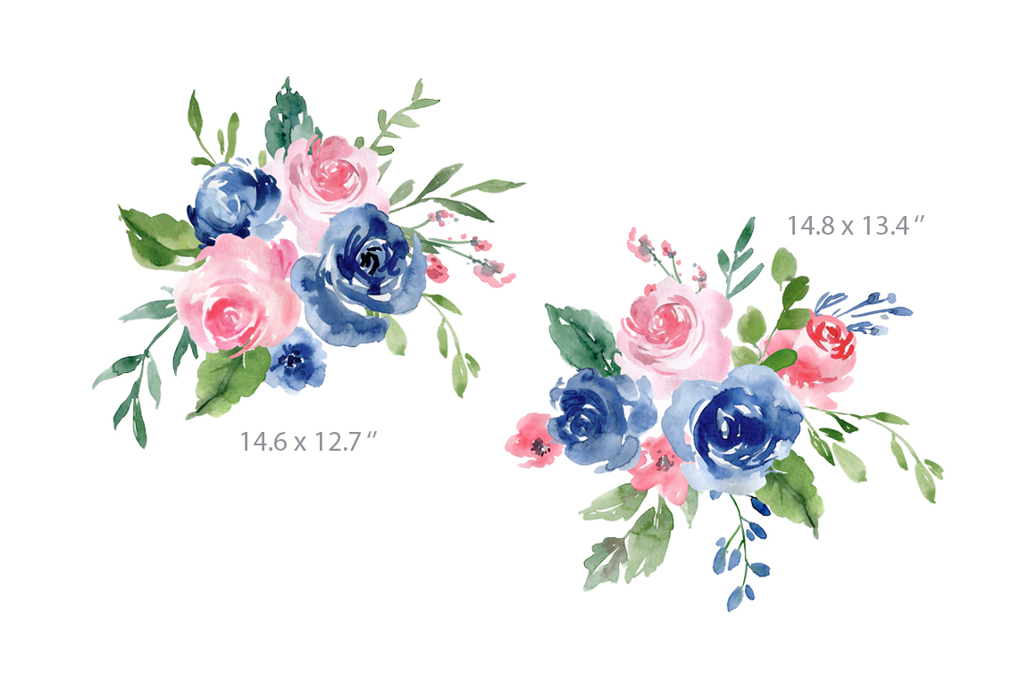 Watercolor Blue and Pink Roses Flowers PNG example image 3