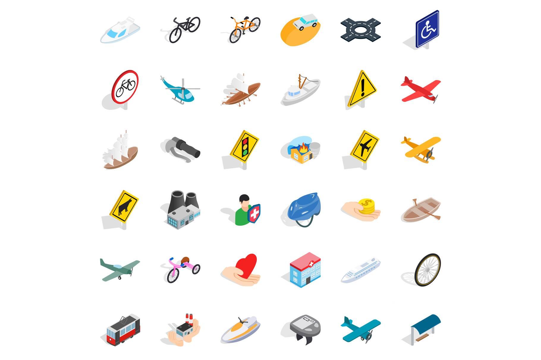 Traffic sign icons set, isometric style example image 1