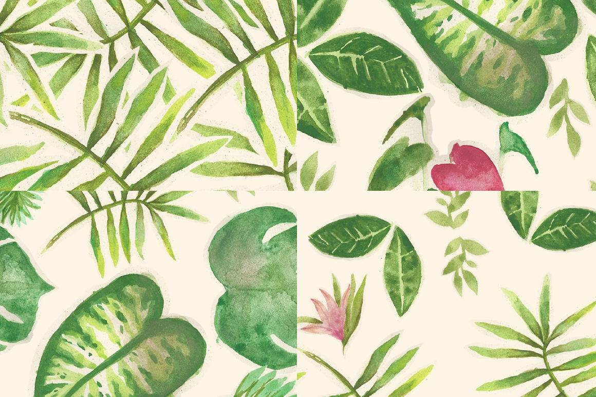 Watercolor Tropical Plants Patterns example image 2