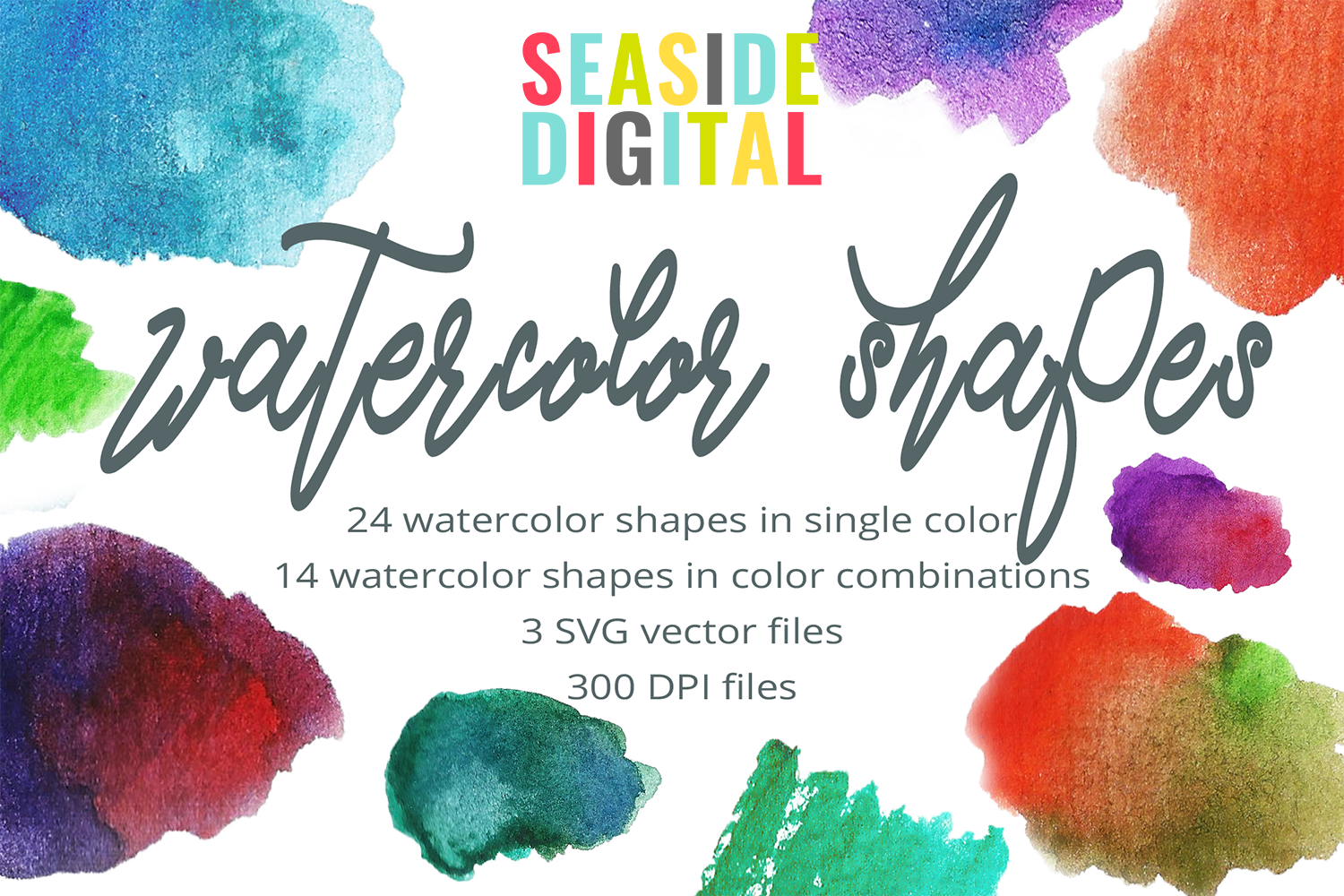 Basic Watercolor Shapes example image 1