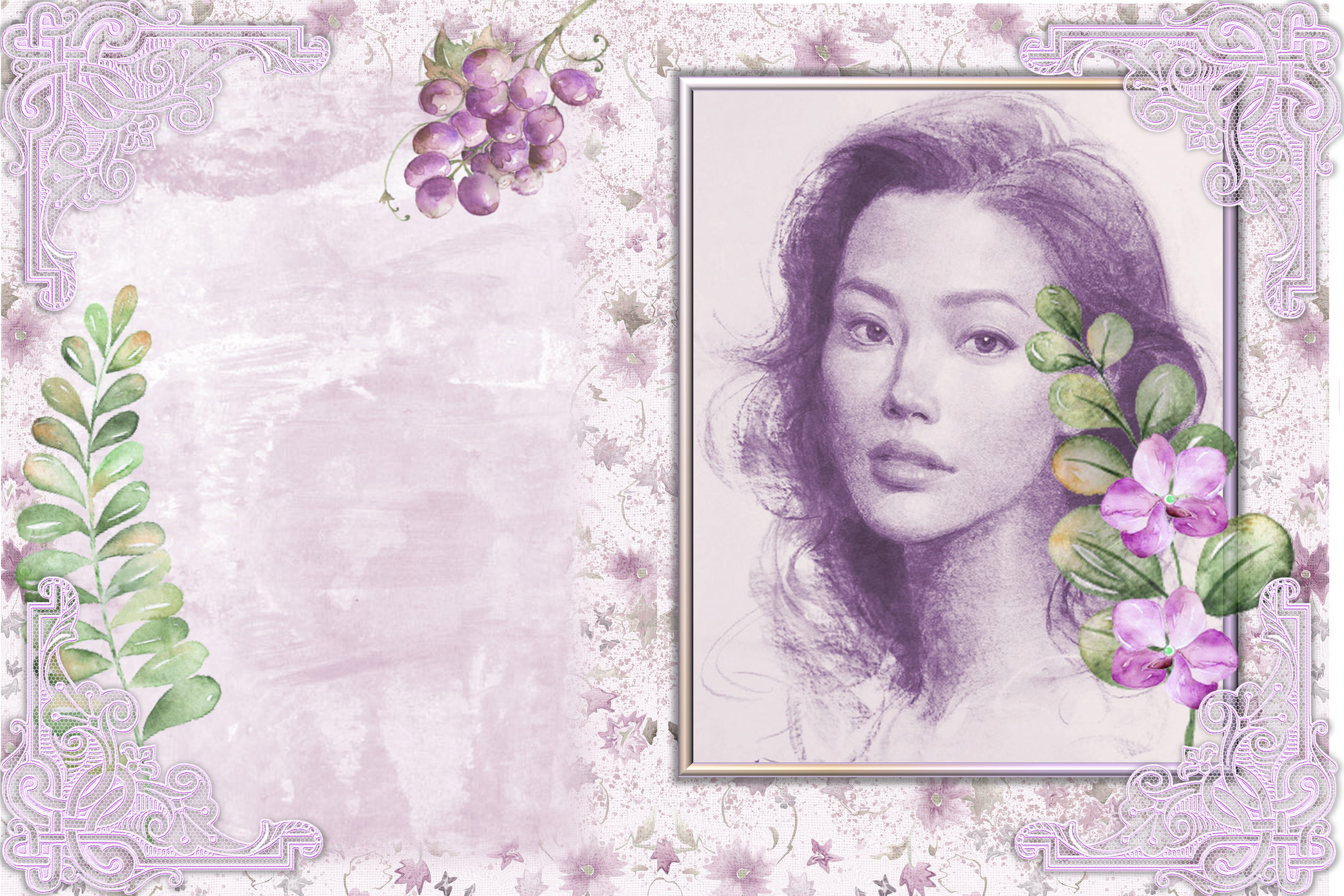 Water colour Lavender Ladies Backgrounds and Clipart example image 3