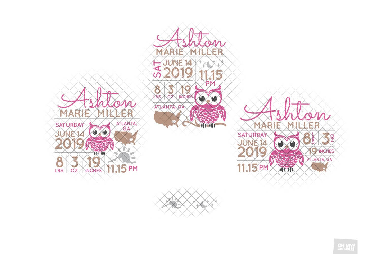 Owl Birth Stats SVG Announcement Template in SVG, DXF, EPS example image 2