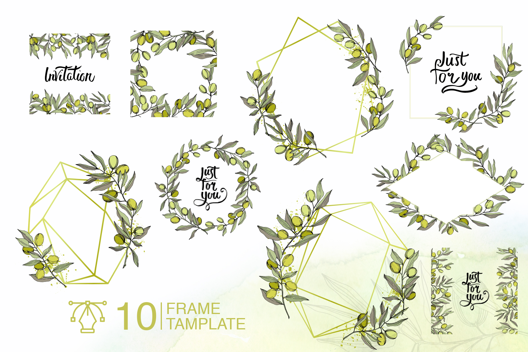 Olives vector EPS watercolor set   example image 6