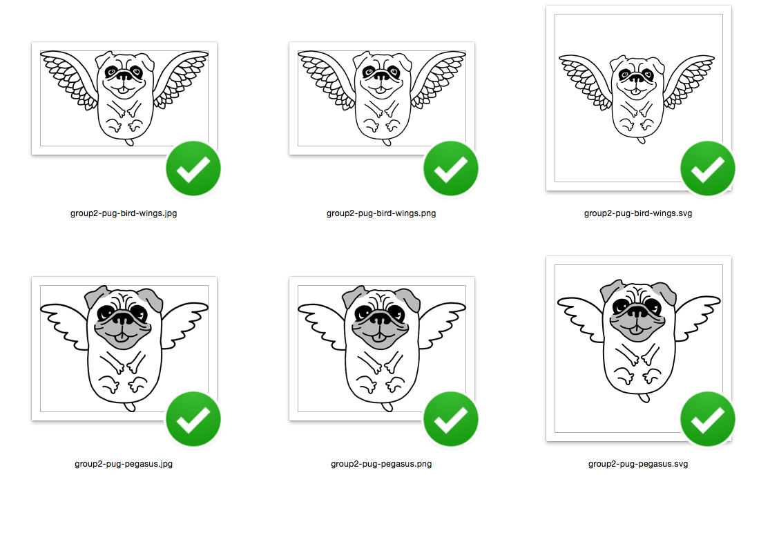 Flying Pug Dog with bird wings - SVG/JPG/PNG Hand Drawing example image 4