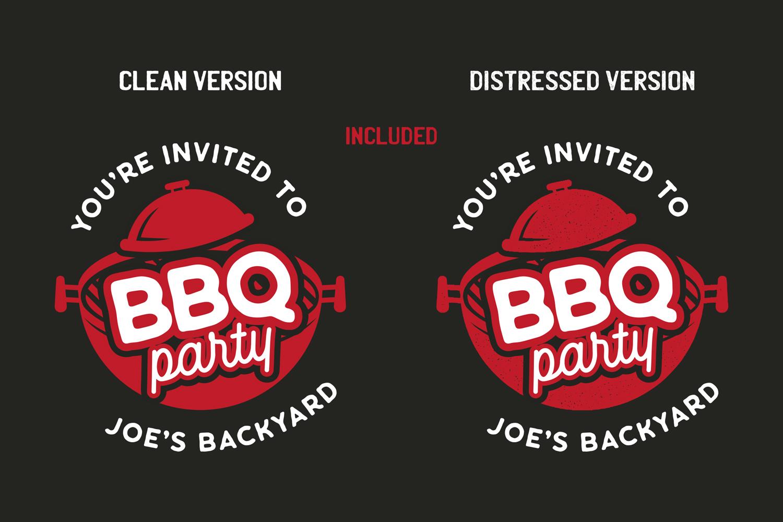 BBQ Party Logo Design TShirt. Retro Vector SVG Cut File example image 3