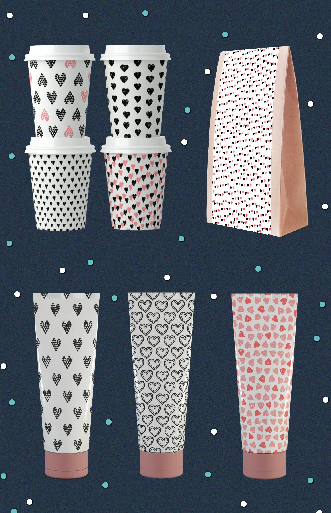 10 Seamless hand drawn vector texture to Valentine's day example image 3