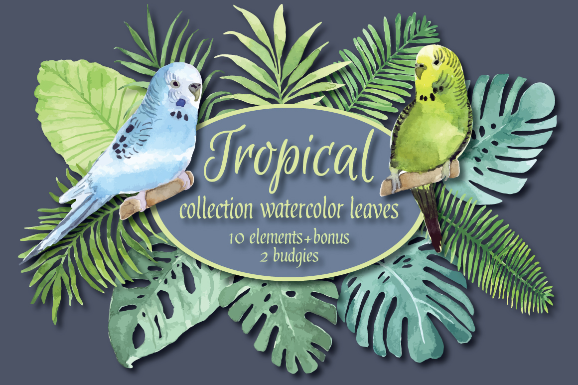 Tropical watercolor set. example image 1