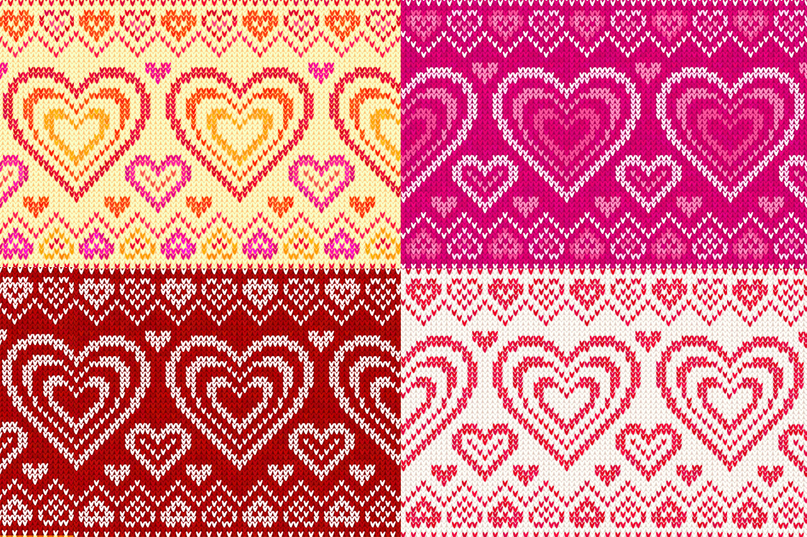 10 knitted hearts seamless patterns example image 3