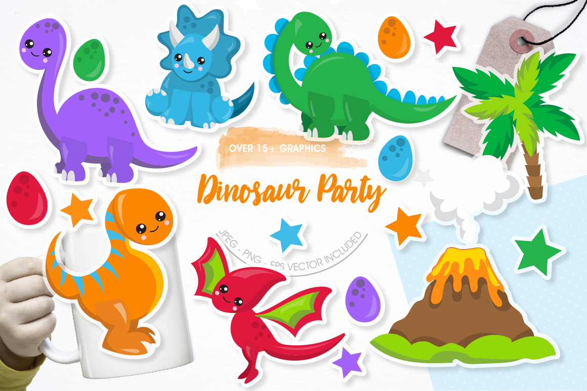 Party Dinosaurs graphics and illustrations example image 1
