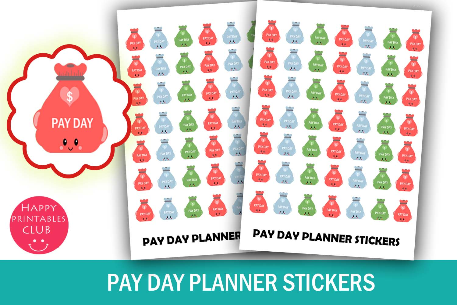 Pay Day Money Bag Planner Stickers- Pay Day Planner Stickers example image 1