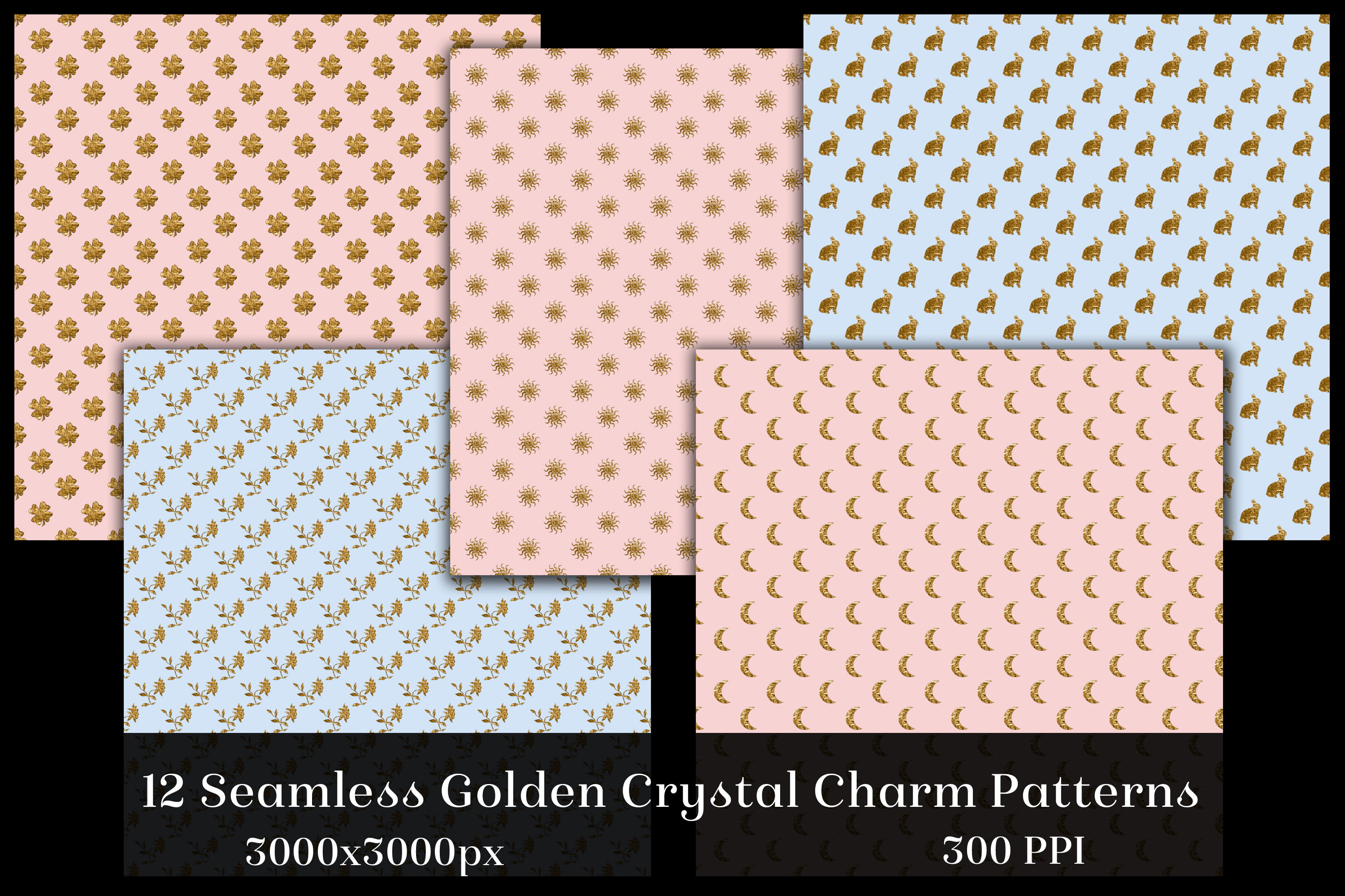 Seamless Golden Crystal Charm Patterns - 12 Images example image 2