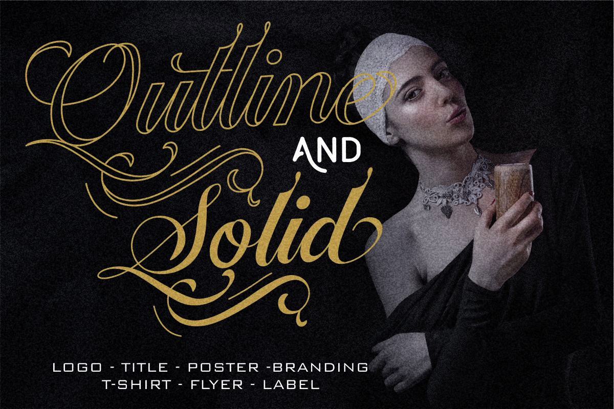 Ballegra Solid & Outline Script example image 3