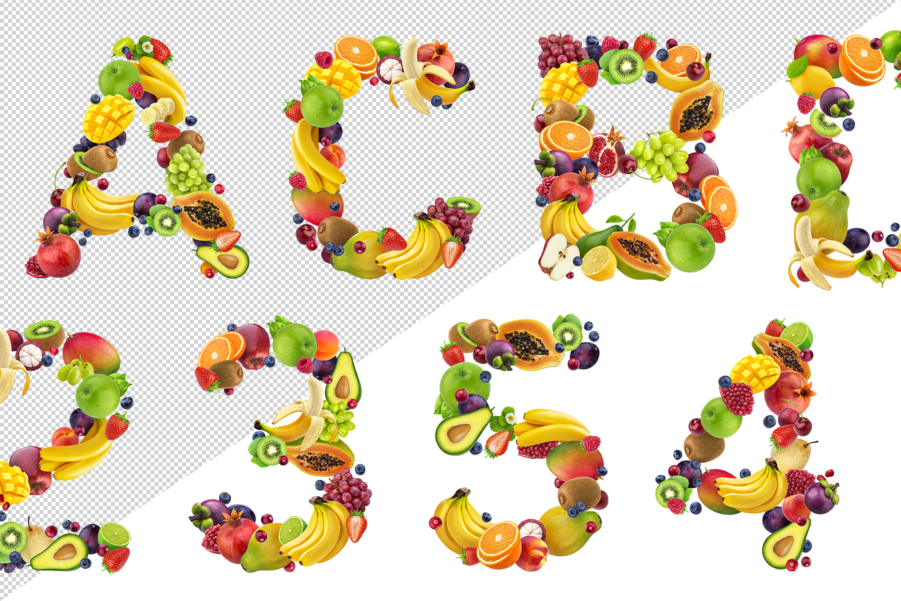 Fruits and berries alphabet, healthy alphabet example image 3