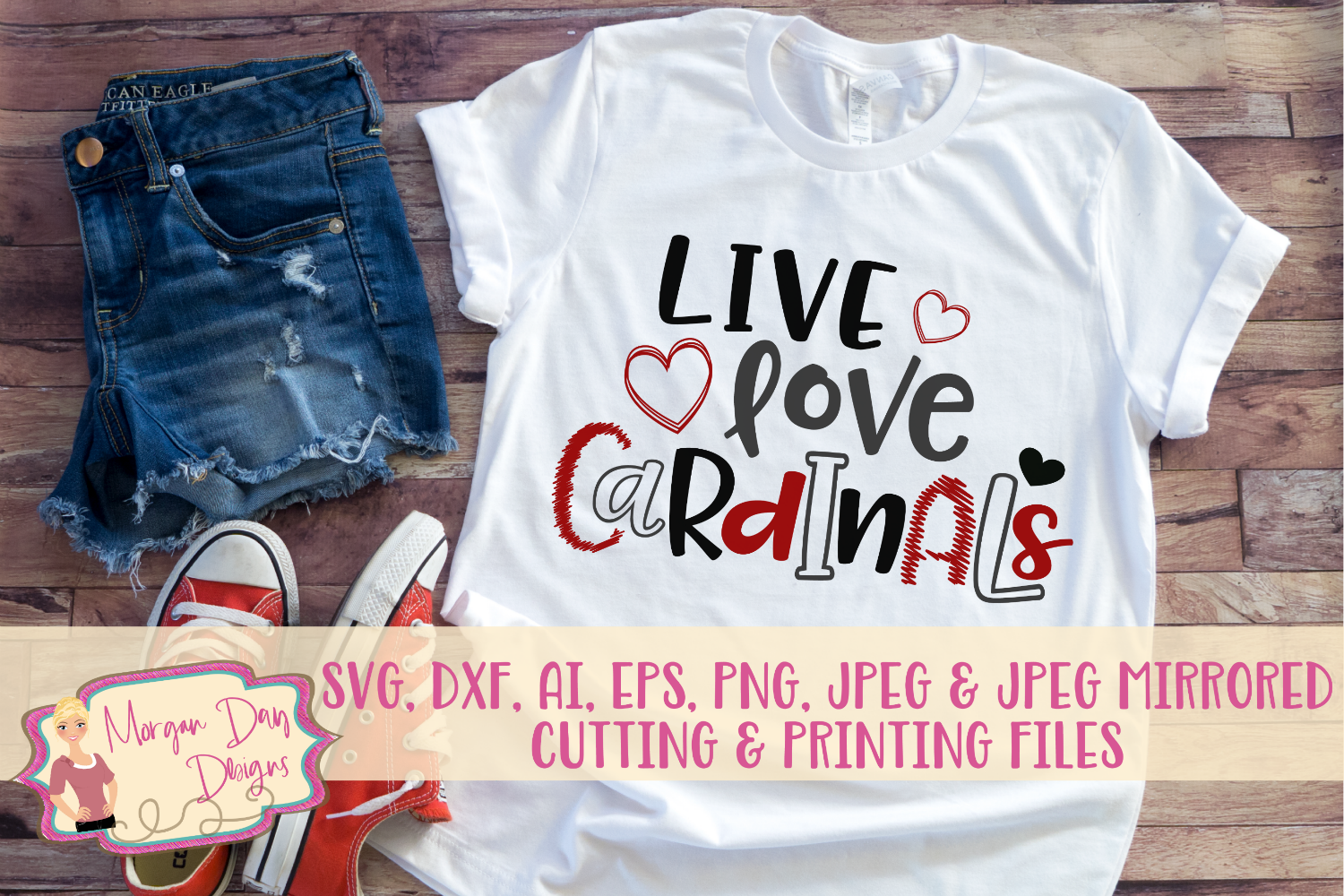 Live Love Cardinals SVG, DXF, AI, EPS, PNG, JPEG example image 1