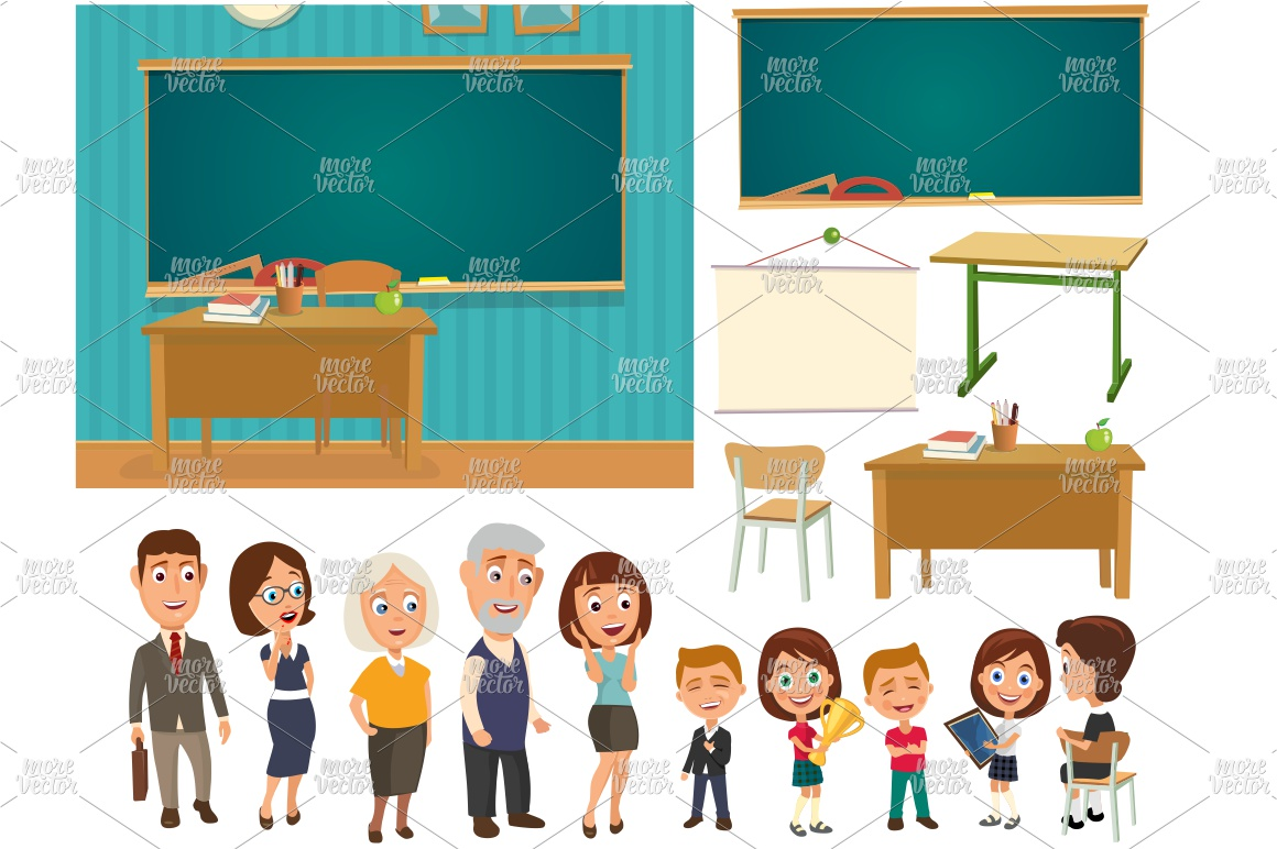 Interior classroom desk blackboard people Color vector flat example image 1