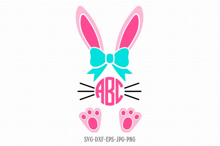 easter bunny girl monogram frame example image 1