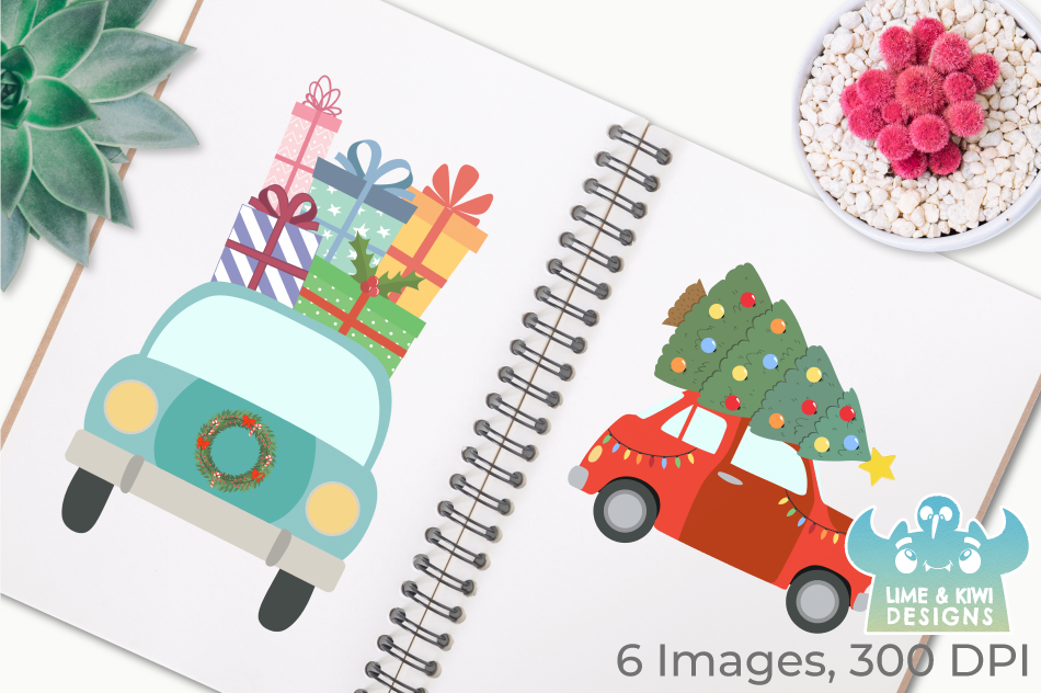 Christmas Vehicles Clipart, Instant Download Vector Art example image 3