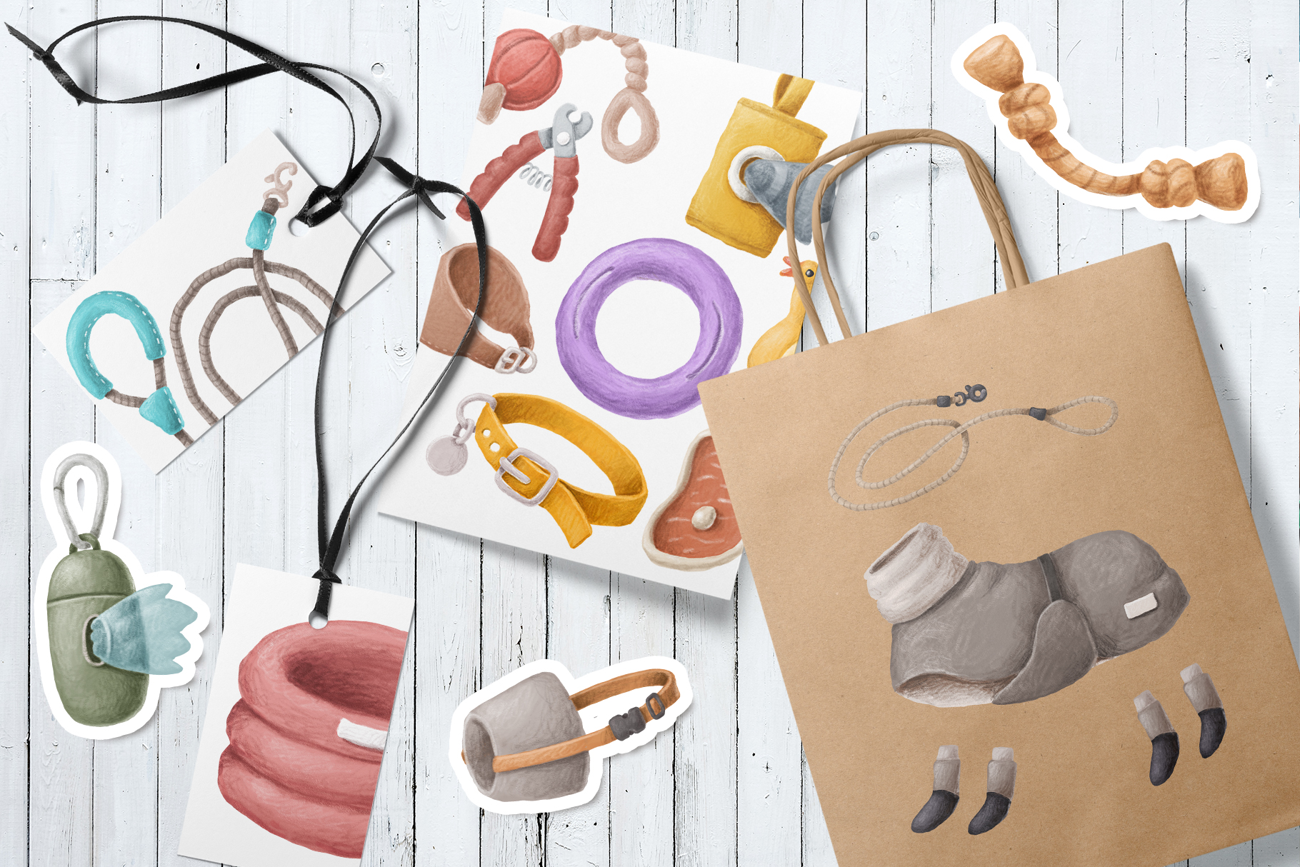 Dog items clipart collection example image 2