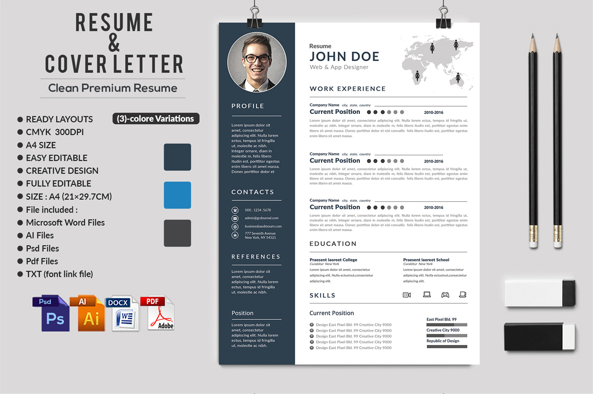 12 Clean Rsume Invoice and Letterhead Bundle example image 4