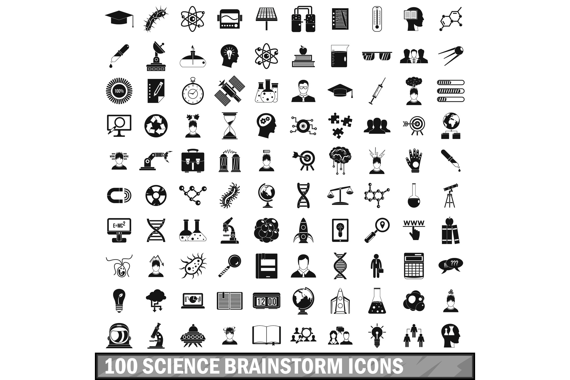 100 science brainstorm icons set, simple style example image 1