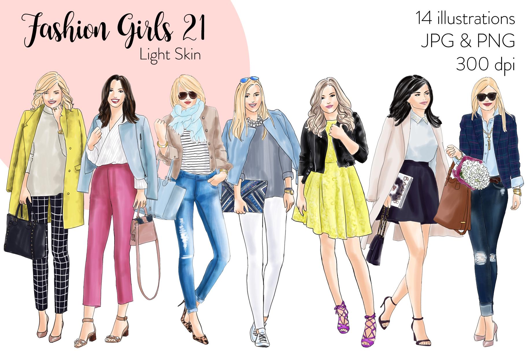 Fashion illustration clipart - Fashion Girls 21 - Light Skin example image 1