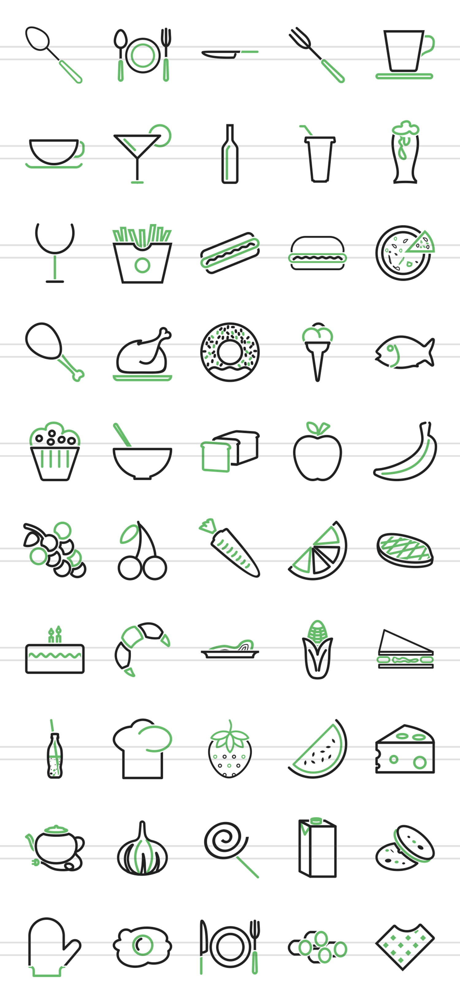 50 Food & Drinks Line Green & Black Icons example image 2