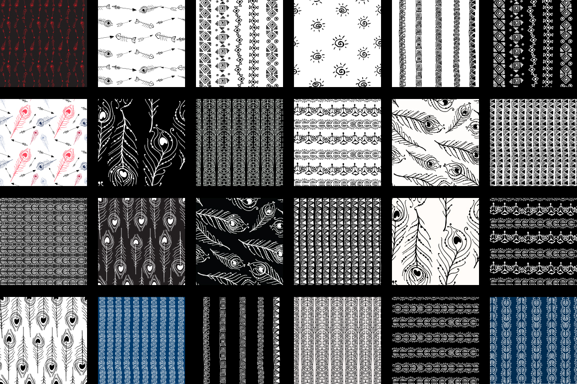 Hand-Drawn Ethnic Seamless Patterns example image 4