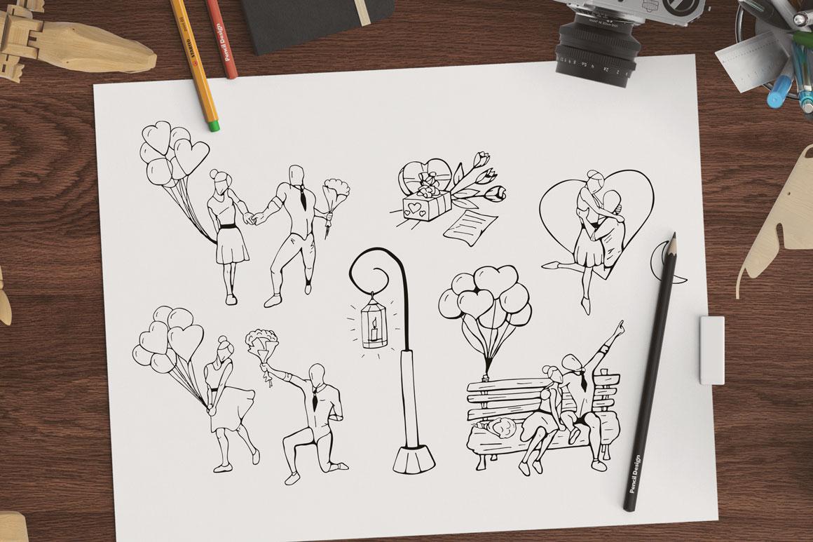 Hand drawn romantic illustration set example image 1