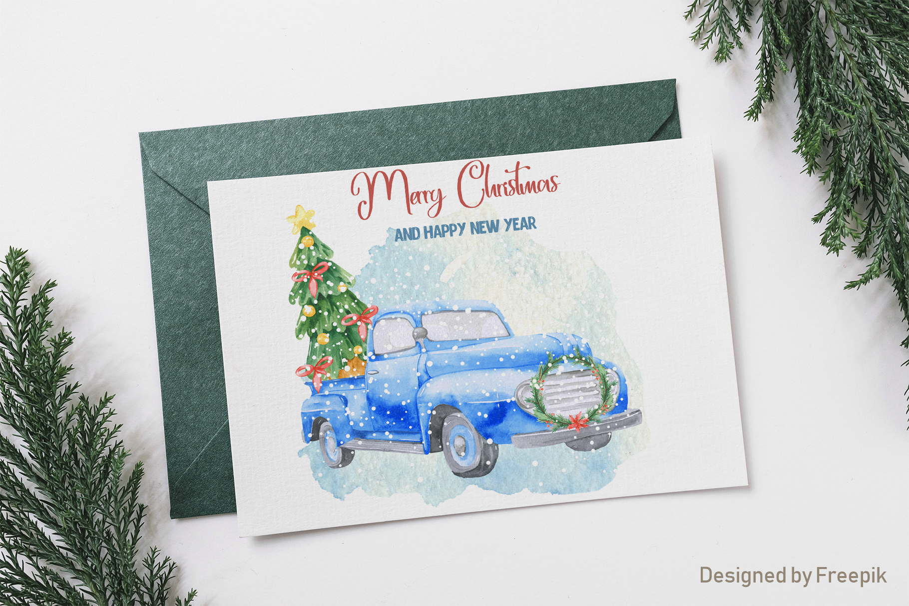 Christmas pickup Watercolor clipart and Christmas elements example image 7