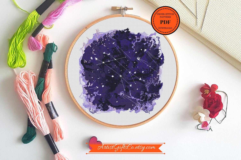 Zodiac Gemini Cross Stitch pattern PDF, Astronomy stitching example image 2