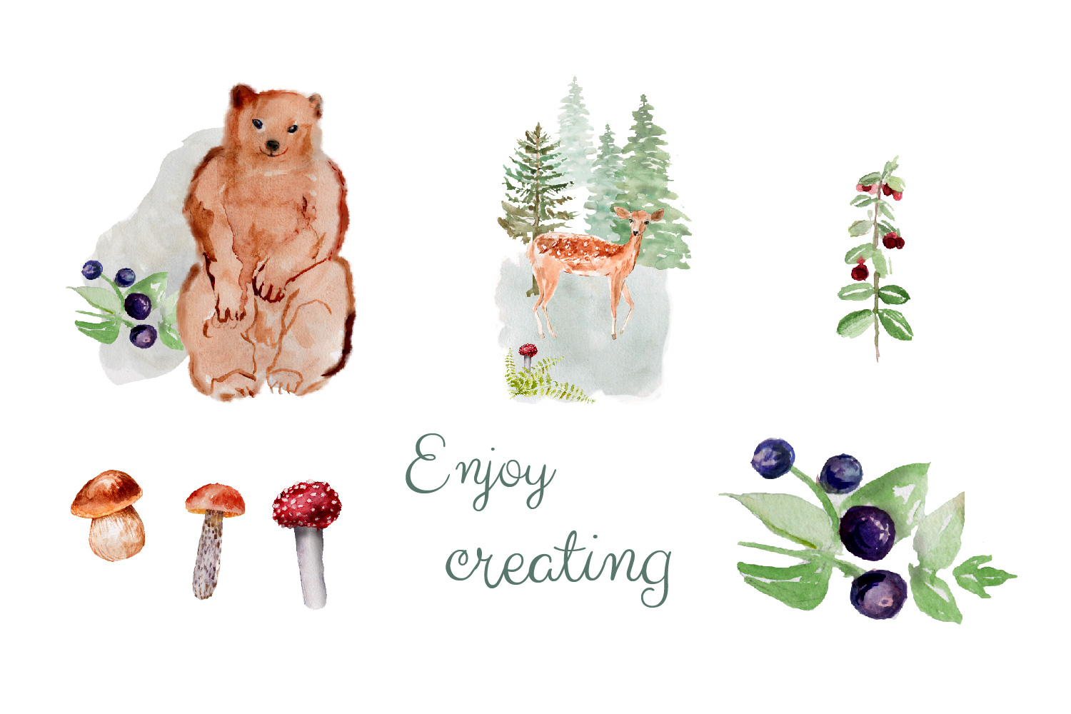 Forest Animals Clipart, Woodland Creatures, Fox, Bear, Owl example image 3