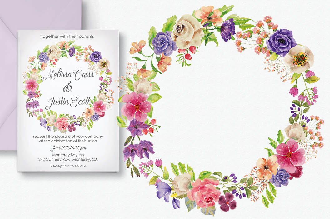 Watercolor wreath of mixed flowers example image 2