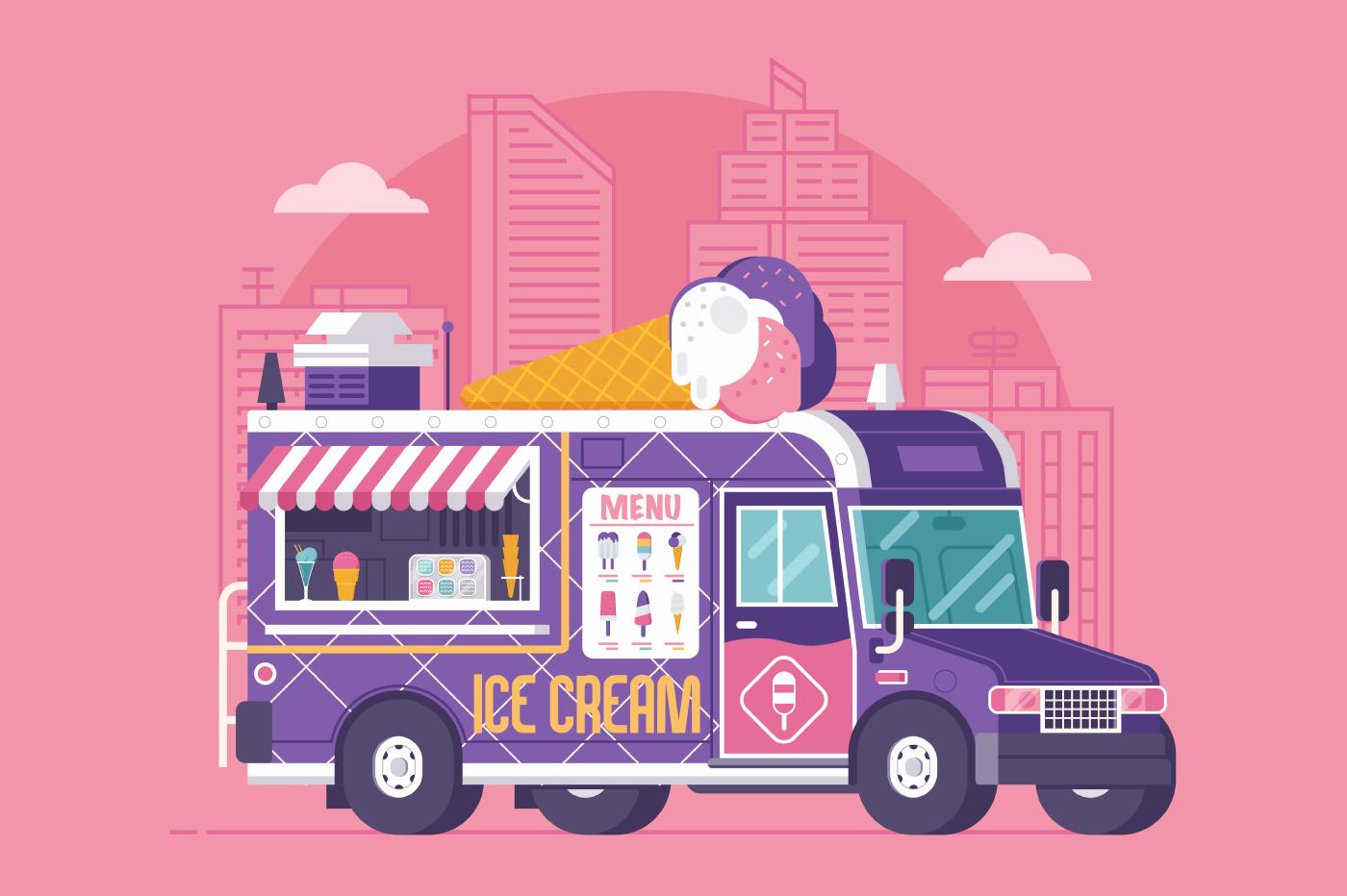 Street Ice Cream Truck Illustration example image 1