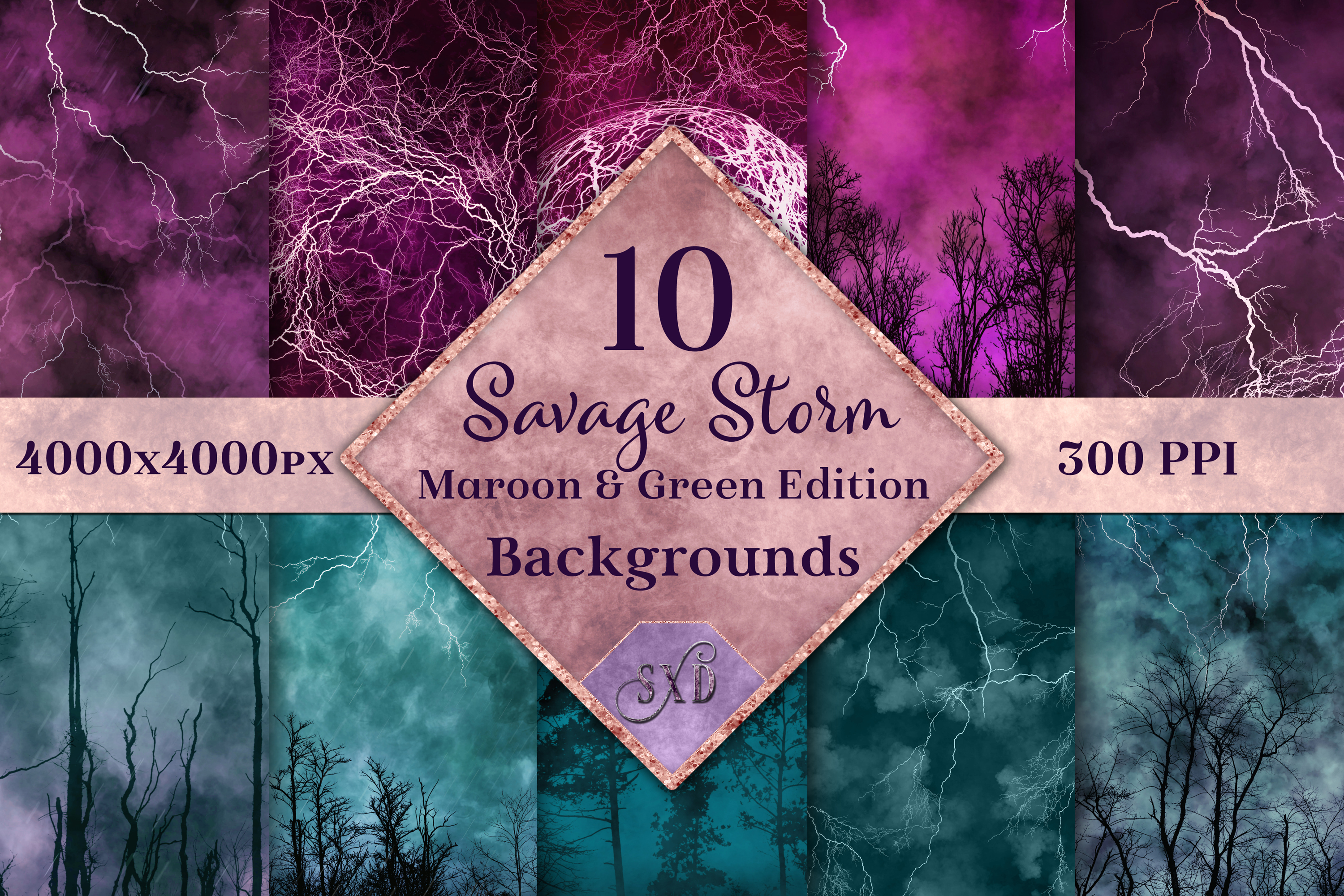 Savage Storm Maroon and Green Edition Backgrounds Set example image 1