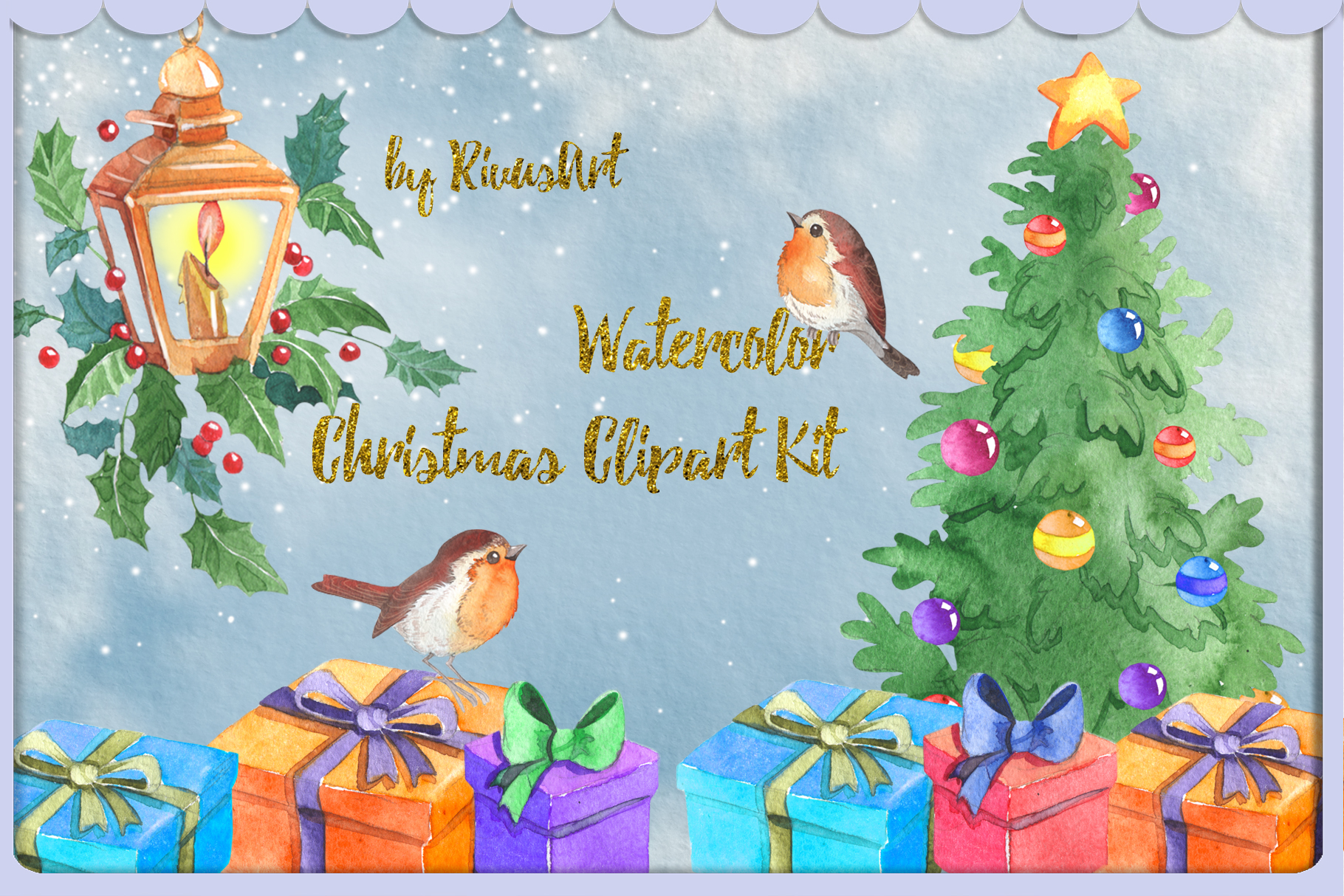 Watercolor Christmas clipart set example image 2