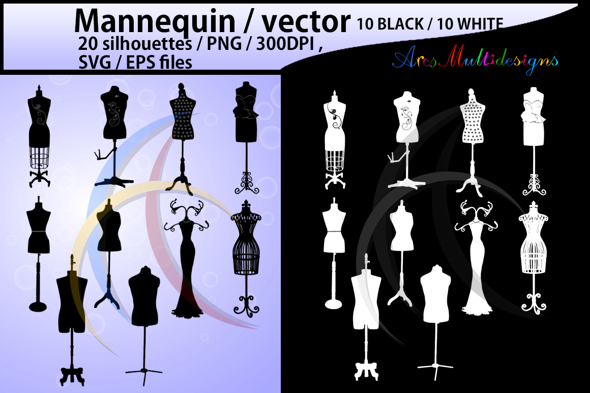 Mannequin svg / mannequin silhouette / EPS / SVG files / mannequin clipart / mannequin craft file / PNG /High Quality / 10B + 10w example image 1