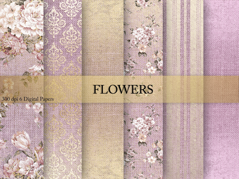 Wedding Gold Flowers Digital Paper example image 1