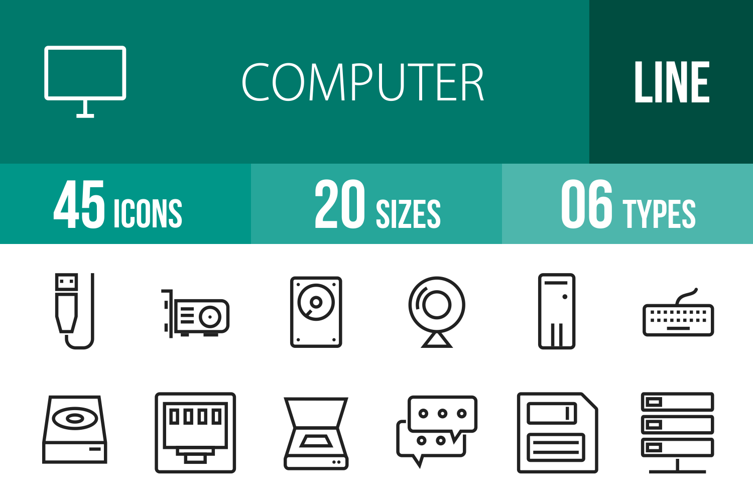 45 Computer Line Icons example image 1