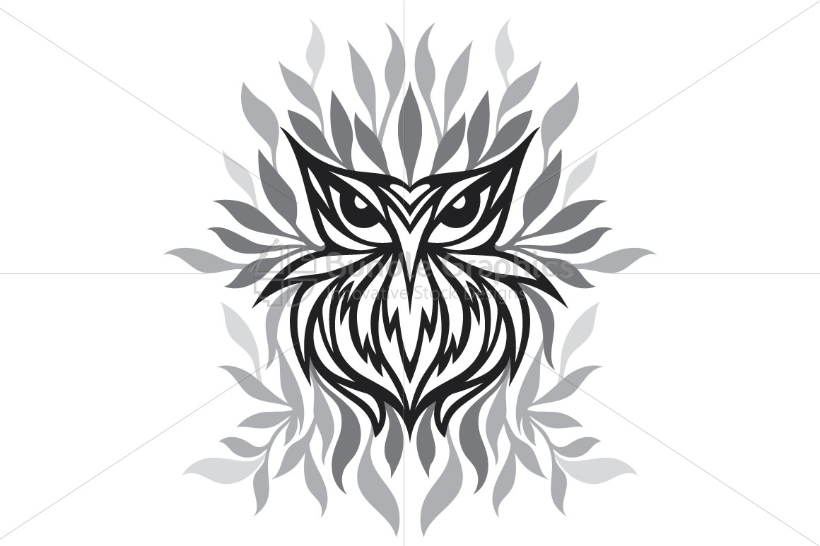 Staring Owl - Creative Tribal Style Mirror Graphic of Bird  example image 2