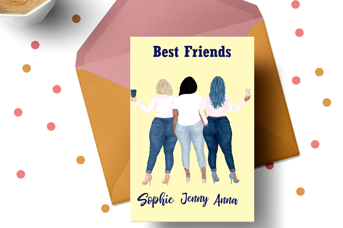 Curvy girls Plus size girls clipart Best Friends clipart example image 2