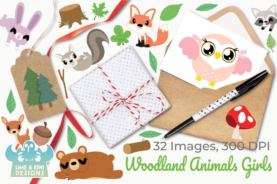 Woodland Animals Girls Clipart, Instant Download Vector Art example image 4
