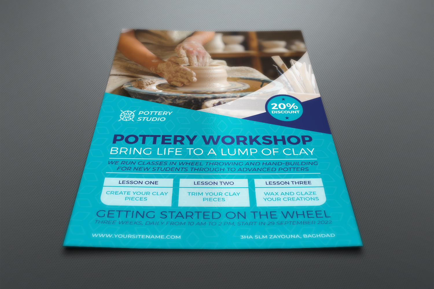 Pottery Workshop Flyer Template example image 2
