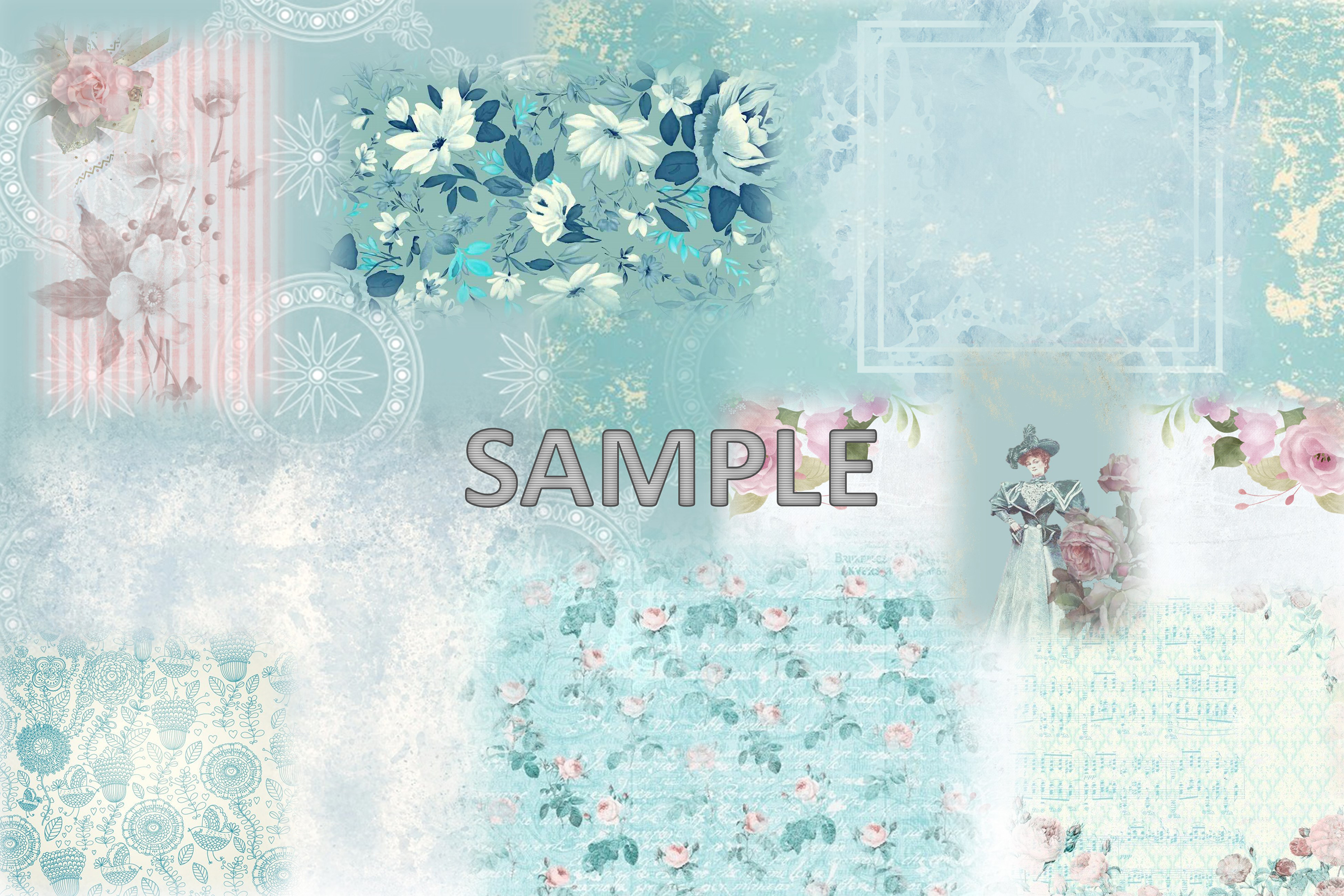 6 Shabby Chic Vintage Printable backgrounds PDF example image 5