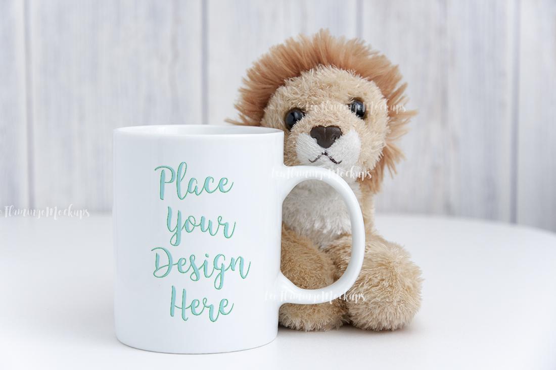 White digital coffee mug mock up kids toy background example image 3