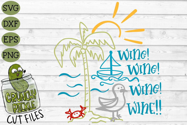 Wine Wine Seagull Beach SVG Cut File example image 2