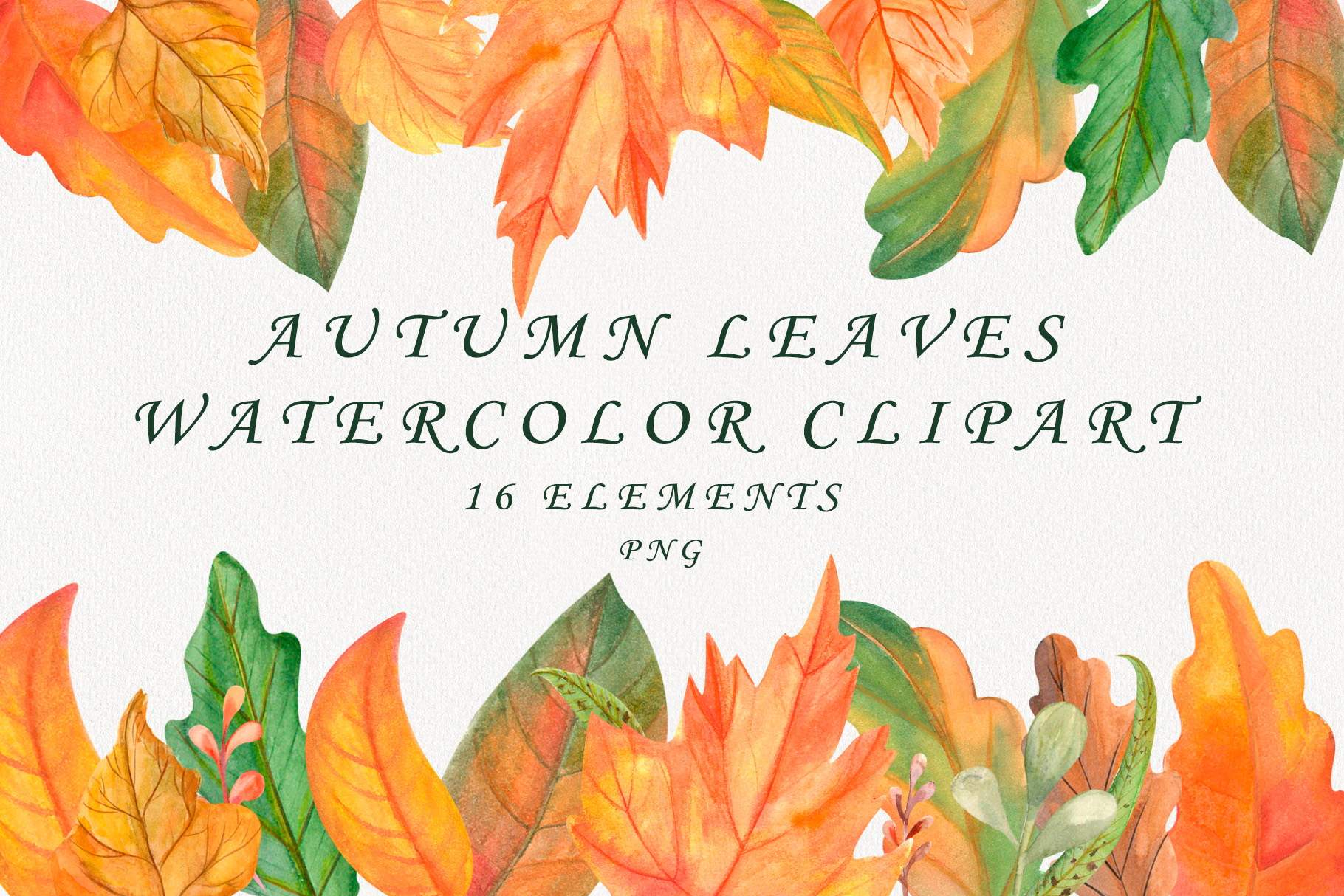 Autumn leaves watercolor clipart example image 1