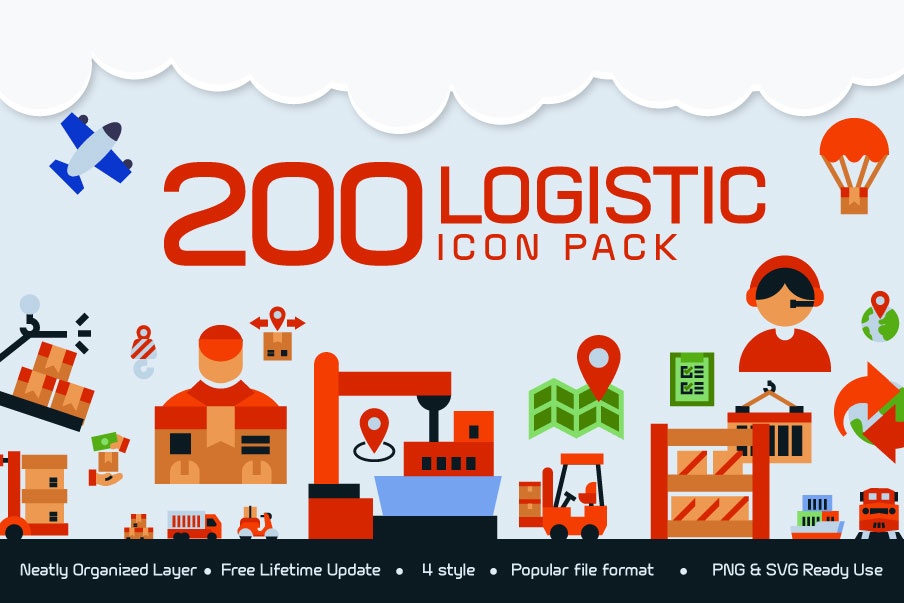 200 Logistic Icon Pack example image 1