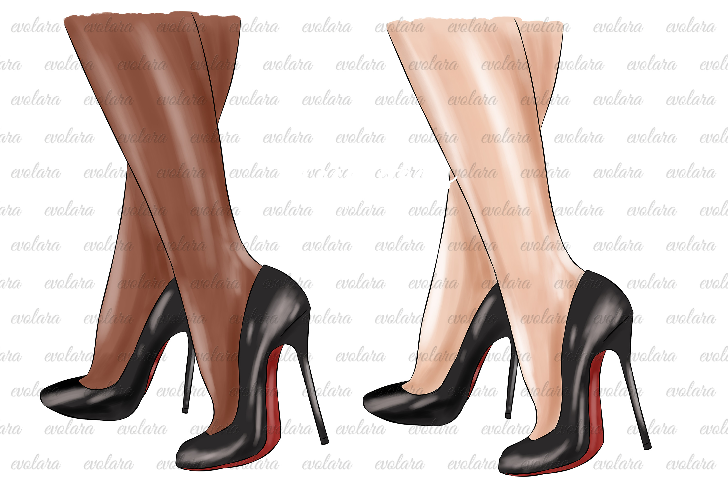 Black Stiletto Black High Heels Shoes Clipart Fashion example image 2