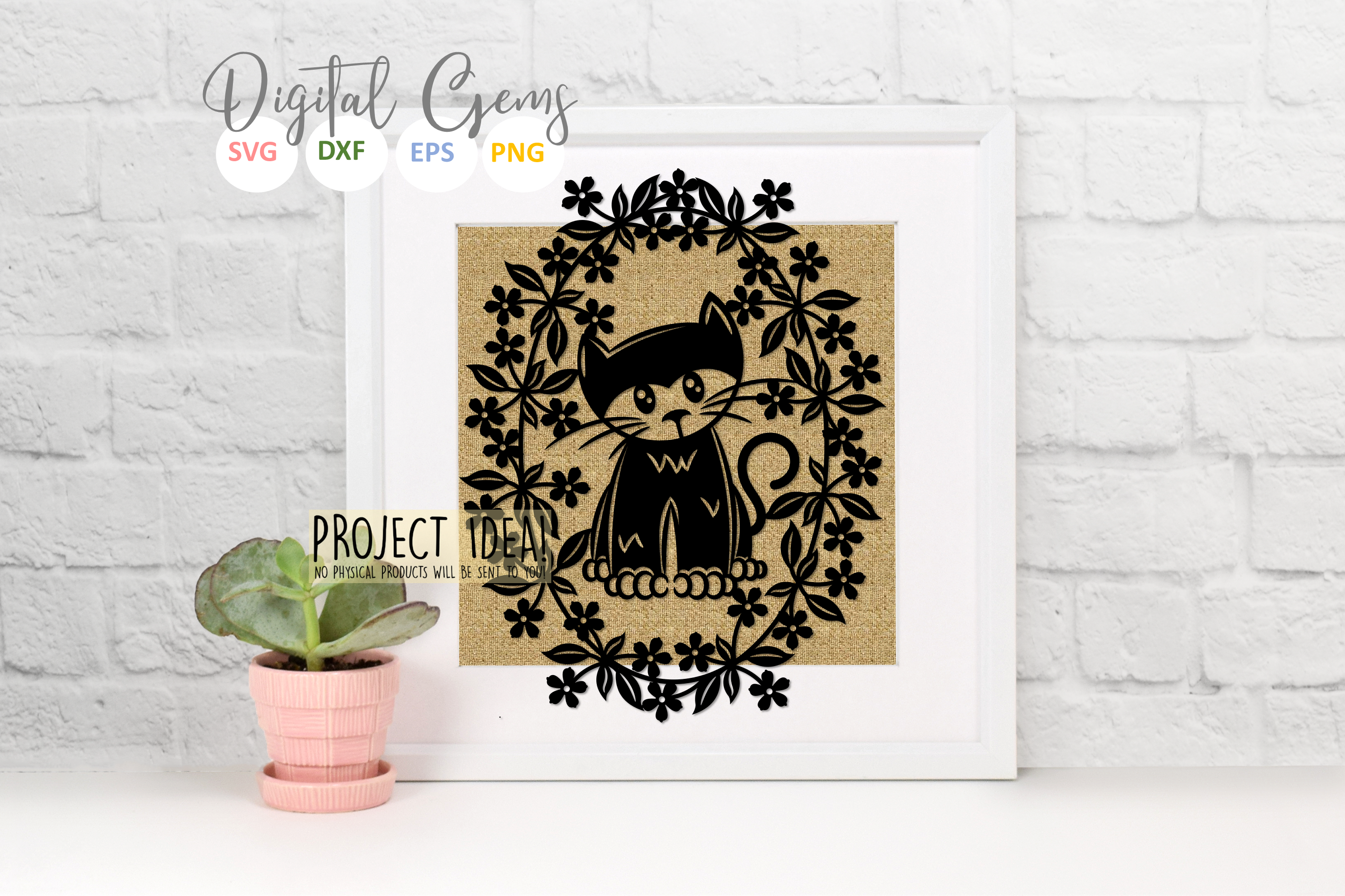 Cat paper cut design SVG / DXF / EPS / PNG files example image 7